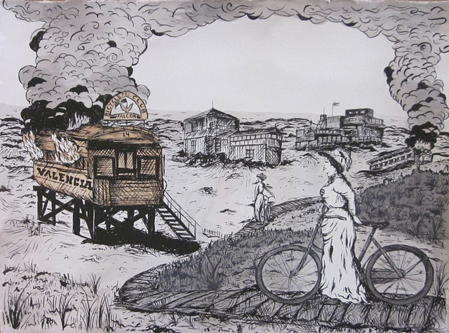 """The Burning of Carville"" watercolor, ink on paper Of all the re-purposed old horse and cable cars to inhabit the wind thrust sand dunes of San Francisco's barren beach front, the Falcon women's Bicycling Club hosted the most vibrant soirees.  Carville wa"
