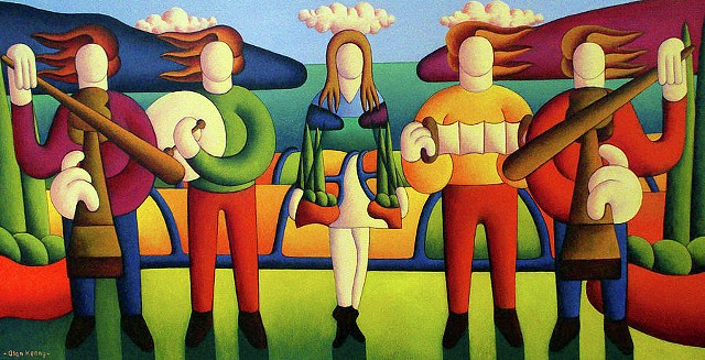 Irish Dancer With Musicians In Soft Landscape