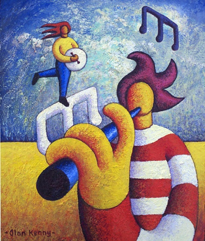 Two soft musicians on notes(impasto)