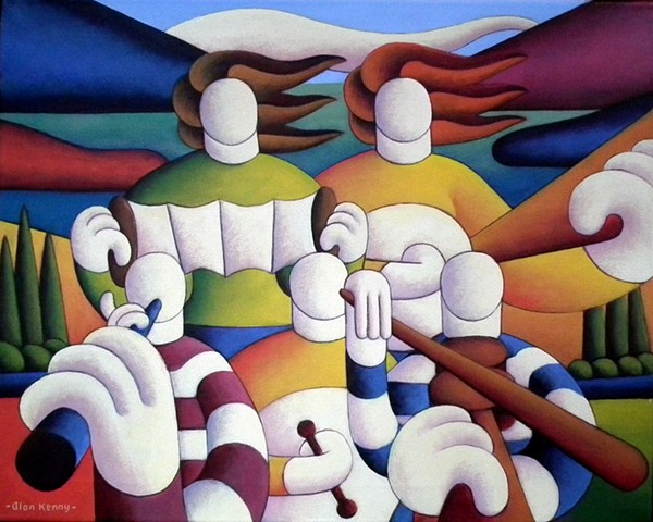 irish  musical trad.session with musicians in landscape by alan kenny