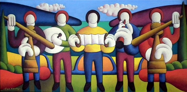 Five soft musicians by lake by Alan Kenny