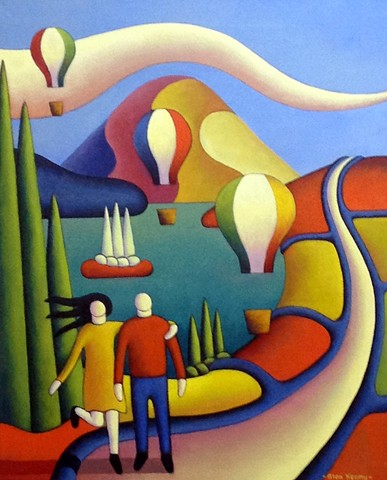 Two lovers in a landscape with balloons and lake by Alan Kenny