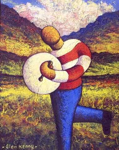 Bodhran player (impasto)