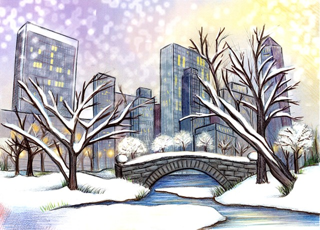 Central Park, Greeting Card Design, Lesley Ash, 2015