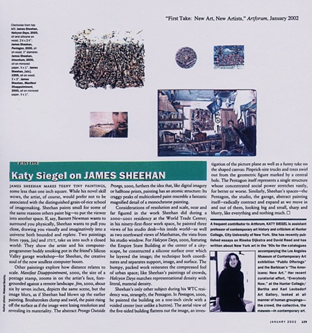 "Art Forum ""First Take: New Art, New Artists"" Jan 2002"