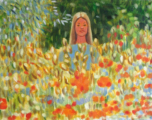 Spring field of flowers young woman St. Clare