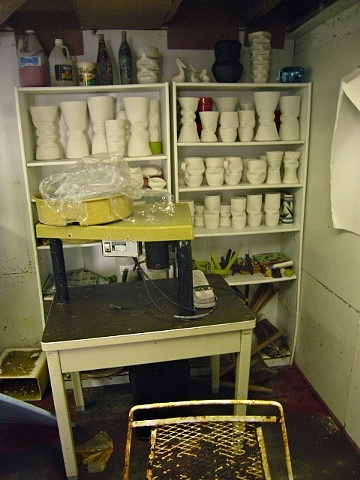 Unfired works on shelves after Hurricane Ike, September 2008