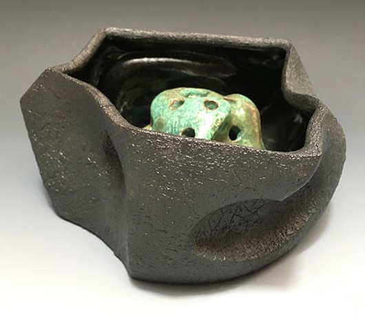 Small Black Serving / Flower Bowl View 2