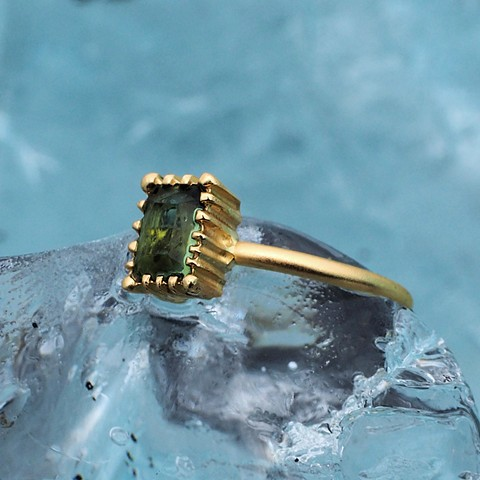 18ky Gold Ring with Green Tourmaline