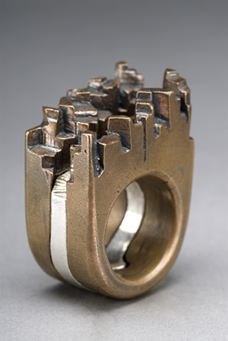 Italian Village Ring - Lost wax-cast silver and bronze