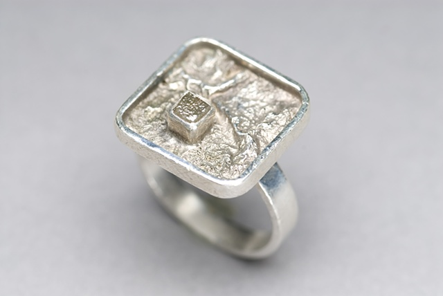 """Sterling silver ring w/ reticulation and rough diamond."
