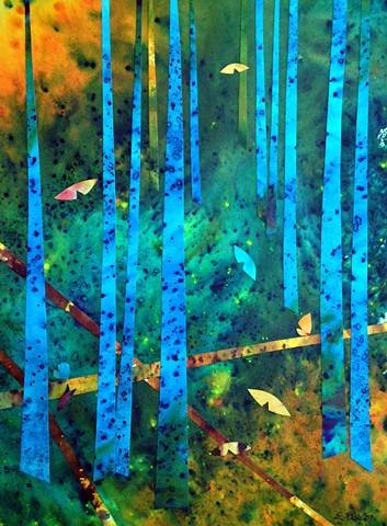 In an undisturbed forest, butterflies float through blue trees.