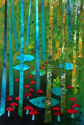 Birch trees stand among pools and red fungi, deep in the woods.