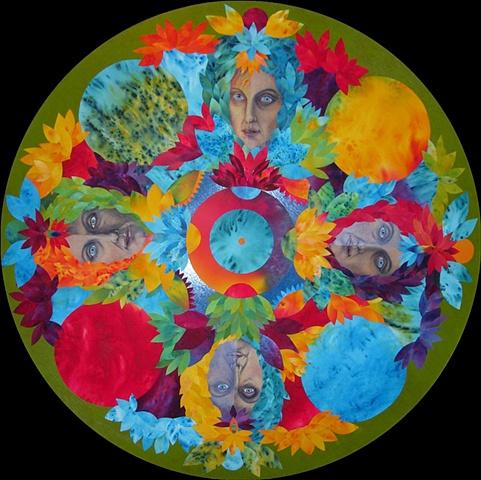 Four directions, eight fold path, meditative, mandala, faces, lotus flowers, petals, circular art