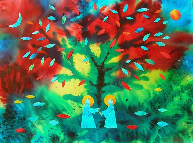 Jesus, Buddha, exchange, synchronous religion, tree, leaves, dye, collage, humor
