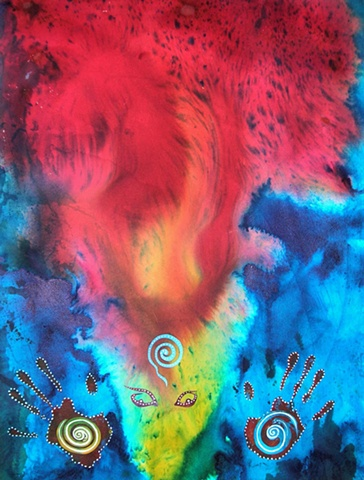 Rebirth and renewal arising from the creative fire- spirals, hands and head