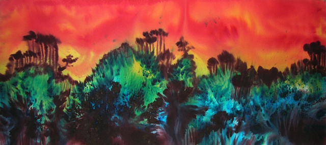 Imagined forest landscape influenced by the beauty of Asian scroll landscapes