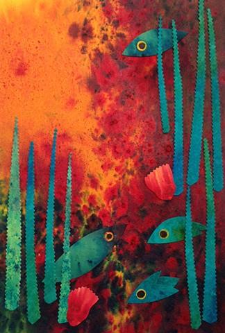 Whimsical fish swim in a bold sea of orange reef coral