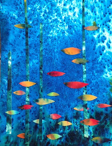 Fish-like forms show a directional path through an underwater landscape.