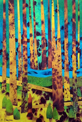 Golden trees stand out against a blue-lit forest