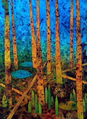 Hidden among living and fallen yellow birch trees, is a cozy nest.