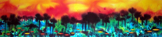 A  narrow scroll landscape with vibrant sky (sold) Dye and collage on paper