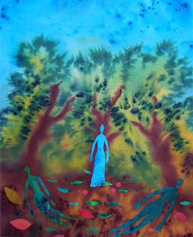 My fondness for willow trees is expressed using dye and collage.