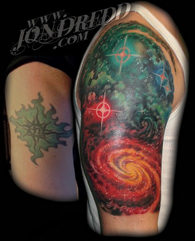 galaxy star tattoo stars nebula space coverup crucial tattoo studio salisbury maryland delaware jon dredd kellogg tattoos