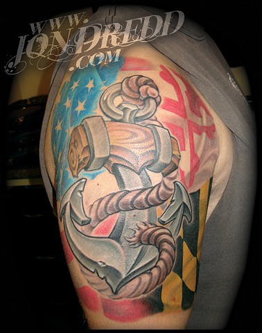 anchor flag crucial tattoo studio salisbury maryland delaware jon dredd kellogg tattoos