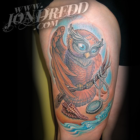 ocean owl tree jewel necklace gem crucial tattoo studio salisbury maryland tattoos jonathan kellogg jon dredd tattoo delaware ocean city