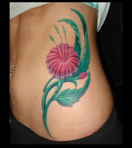 Salisbury Maryland tattoos crucial tattoo studio tattoo flower pink ribs tattoos