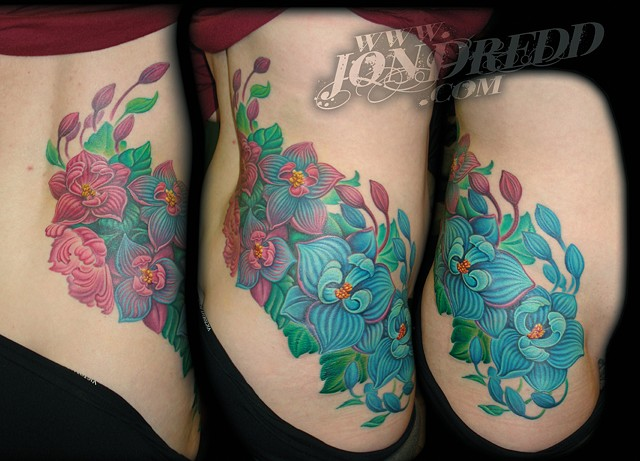 flowers hip full color tattoo cover up tattoo maryland