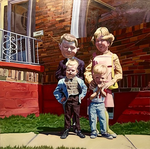 Four kids Pinky Blue Boy portrait