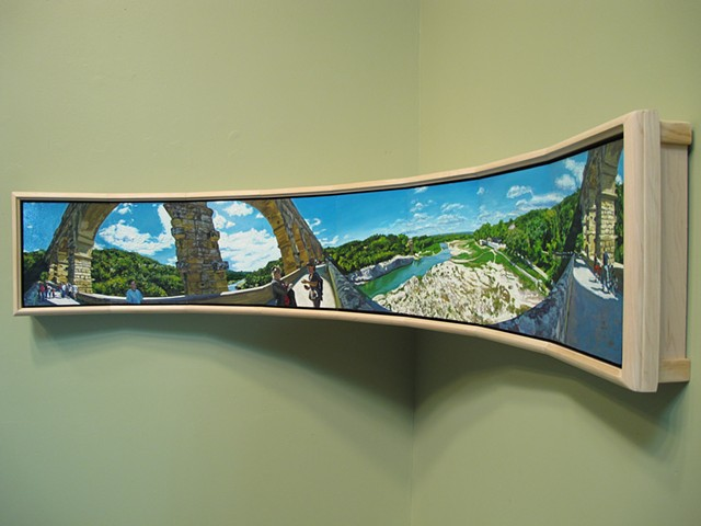 Pont du Gard Panorama Curved Painting