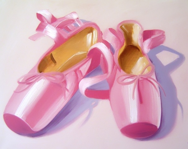 Professional satin pointe ballet shoes, before the performance. This original oil painting by Linda Boucher has shades of subtle pink and lilac, and is created on canvas.