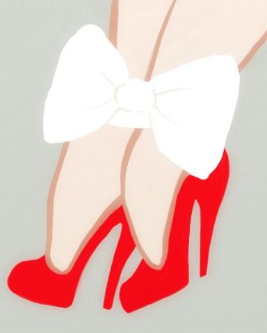 A bold illustration of red spike heel shoes, shapely ankles bound by white silk ribbons. A great art work for shoes fetish and bondage lovers alike. by Linda Boucher for Stocking Tops Art.