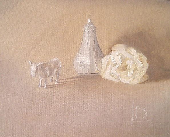 white ceramic cow, salt shaker and a single white rose feature in this study of neutral shades of oil paint, by Brighton artist Linda Boucher