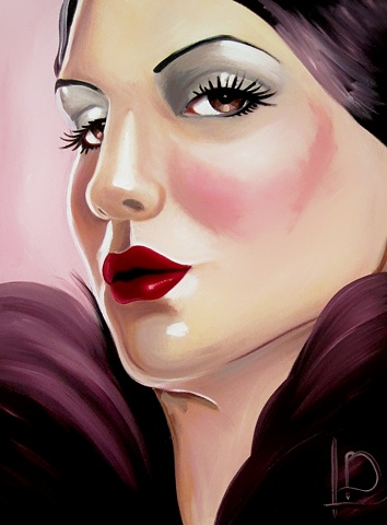 Gorgeous and seductive, Amethyst draws on my love of burlesque and glamorous nights out. Oil on canvas, by Linda Boucher