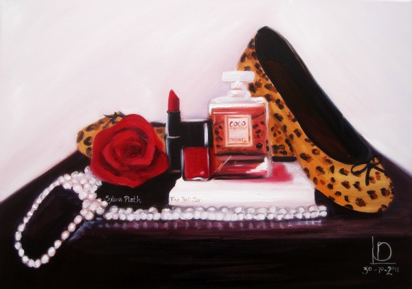 vintage themed still life painting including leopard print shoes, sylvia plath book and chanel perfume and makeup by Brighton artist Linda Boucher