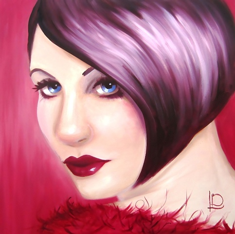 original oil painting of a gorgeous sapphire eyed woman with deep crimson reds and warm purples. Painted by brighton artist Linda Boucher