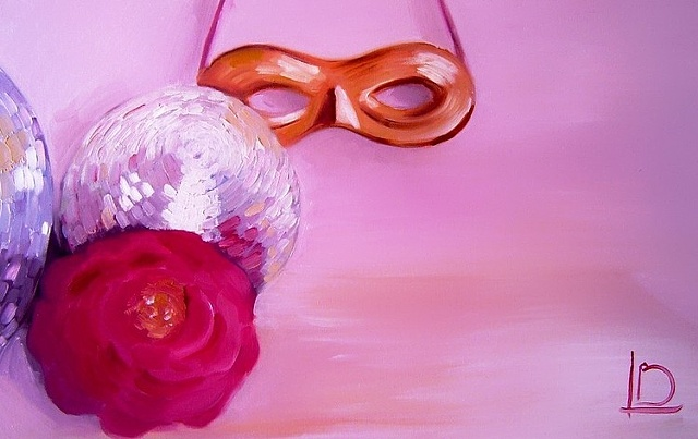 still life of glitter ball rose and masquerade mask painted in oils on canvas by Linda Boucher.