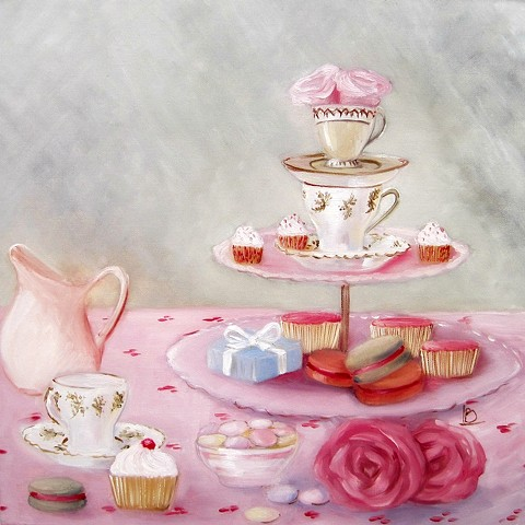 Vintage themed tea party still life painting in oils on canvas, with moss greens, pretty pinks, and lots of cakes by Linda Boucher