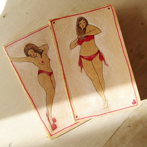 Brighton artist Linda Boucher produces a range of Moleskine Cahier Journals, with hand illustrated covers. Showtime is an example of her curvaceous and fabulous female drawings. Also available in are hand drawn shoes, erotic nudes and pretty lace lingerie