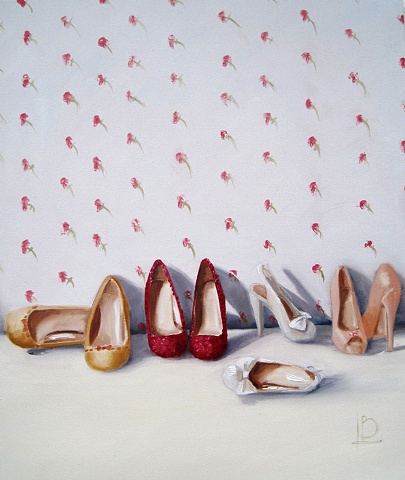 Vintage themed painting of shoes, with a rose wallpaper background. By Brighton Artist Linda Boucher.