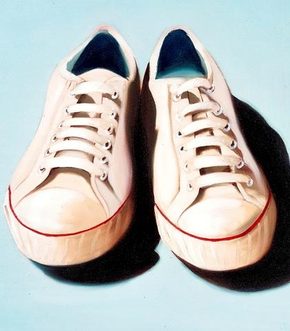 Converse All-Star trainers, painted in oils on canvas. A cream pair of plimsolls on an eggshell blue background. By Linda Boucher