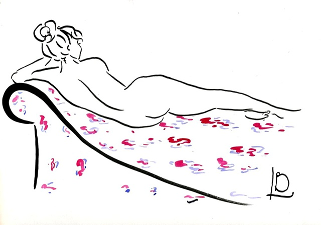 A modern reclining nude, in a contemporary style by Brighton artist Linda Boucher working from her studio on Brighton seafront. Created especially for her StockingTops online gallery.