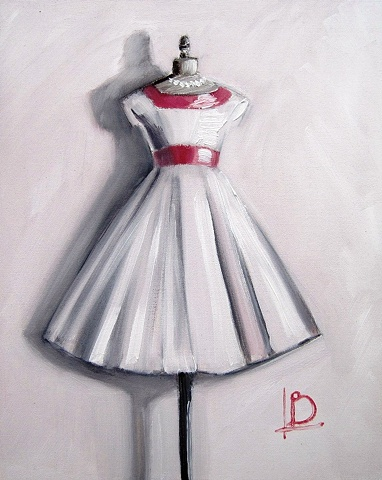 vintage inspired small oil painting of pink dove grey white dress on dressmaker's dummy by Linda Boucher.