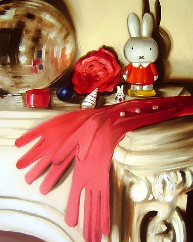 Contemporary still oil life painting, featuring everyone's favourite Dick Bruna's Miffy, with a mix of modern and vintage objects. Painting on canvas by Linda Boucher