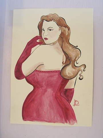 Watercolour painting of a curvaceous brunette in a red dress and evening gloves, with an hour glass figure. By Brighton painter Linda Boucher