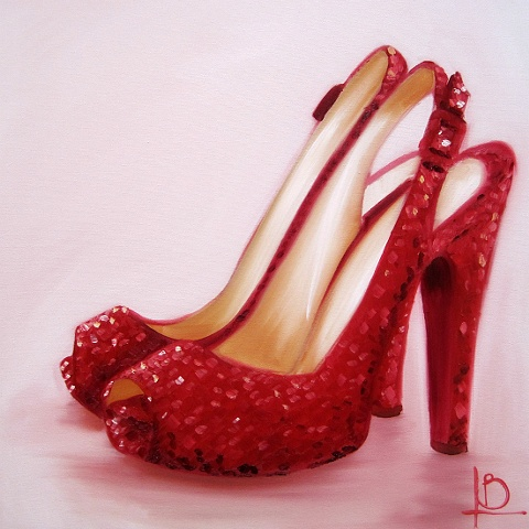 vintage red sparkle shoes painted in oil on canvas by Brighton artist Linda Boucher
